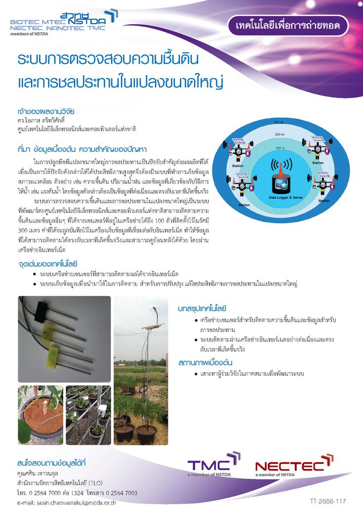ระบบการตรวจสอบความชื้นดิน และการชลประทานในแปลงขนาดใหญ่