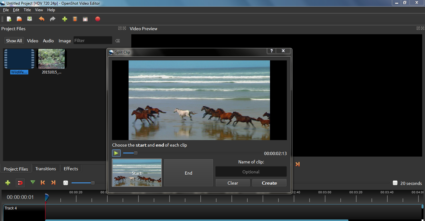 หน้าจอโปรแกรม openshot video editor
