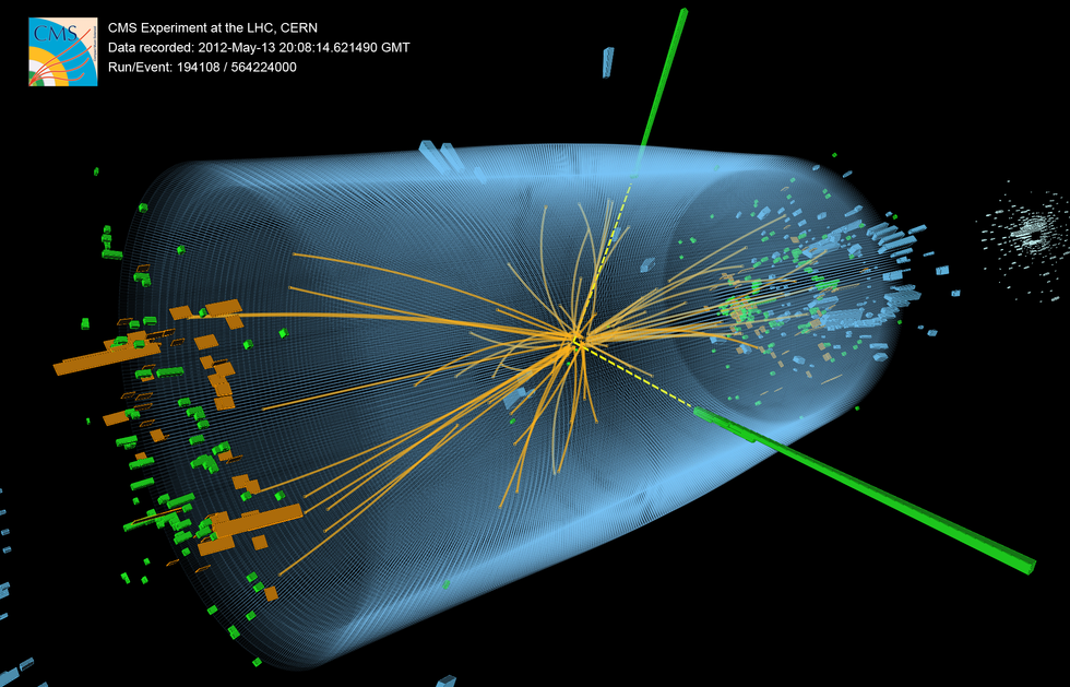 Event recorded with the CMS detector in 2012 at a proton-proton centre-of-mass energy of 8 TeV.  The event shows characteristics expected from the decay of the SM Higgs boson to a pair of photons (dashed yellow lines and green towers). The event could also be due to known standard model background processes.