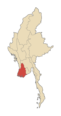 ภาพ ประเทศพม่า พื้นที่สีแดงเข้ม คือ บริเวณแถบสามเหลี่ยมปากแม่น้ำอิระวดี ซึ่ง