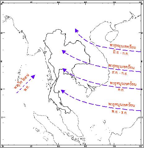 ภาพ ทางเดินพายุหมุนเขตร้อนที่เคลื่อนผ่านประเทศไทย